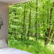 green forest pattern waterproof wall hanging tapestry