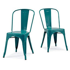 Xavier pauchard french industrial dining room furniture Tolix Chair Image Unavailable Amazoncom Amazoncom Modhaus Living Set Of Turquoise French Bistro Metallic