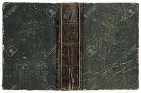 old open book cover with leather spine circa 1875 isolated on white stock