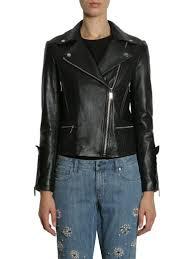 michael michael kors leather biker jacket nero women s leather jackets italist