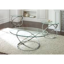 steve silver orion oval chrome and glass coffee table set intended for most recent chrome coffee
