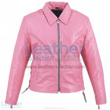 leather braided pink las jacket front view