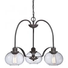 vintage 3lt chandelier in old bronze with clear seeded glass