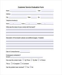 Customer Feedback Form Best Customer Service Evaluation Form Template Morenimpulsarco