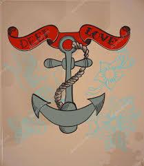 стиль старой школы тату якорь валентина иллюстрации векторное