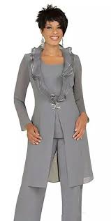 2019 <b>Gray Chiffon Mother of</b> the Bride Pant Suits with Long Jacket ...