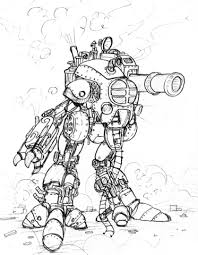 Steampunk Gigantische Robot Met Een Groot Kanon Kleurplaat Gratis