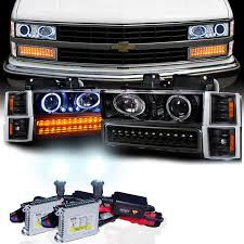 chevy truck 1500 2500 3500 halo projector headlights by hid xenon 94 98 chevy full size pickup ck c10 halo projector headlights
