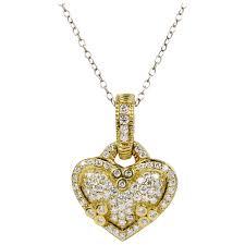 judith ripka 18k gold and 1 carat diamond heart pendant enhancer alpha and omega vintage jewelry ruby lane