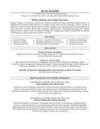 Billing Specialist Resume Summary Medical And Coding Sample Cover