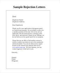 reject letter template 7 rejection letter templates 7 free sample example format