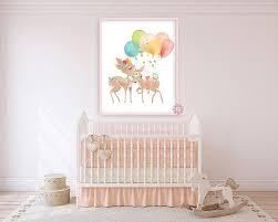 <b>Boho Deer</b> Balloons Baby Girl Nursery Wall Art Print Ethereal ...