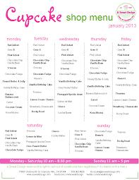 January Cupcake Menu For Website A Sweet Design