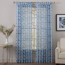 tab top sheer curtains. Sumatra 84-Inch Tab Top Sheer Window Curtain Panel In Blue Curtains