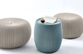 unique and convenient the cozy urban knit set from keter comes with two rounded pouf style cozy seats and one multi functional cozy end table ottoman