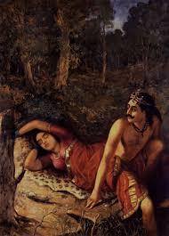nala and damayanthi painting by artist raja ravi varma reion oil canvas