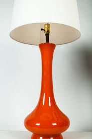 pair tall mid century glazed porcelain table lamps