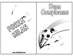 Biglietti Compleanno Calcio Da Colorare Milan Tuttodisegnicom