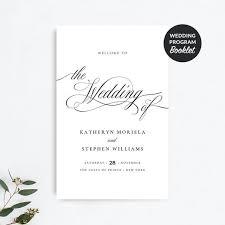 Templates For Wedding Programs Wedding Program Booklet Template Folded Wedding Programs Classic Elegant Wedding Ceremony Programs Traditional Wedding Program Template