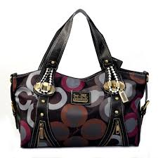 Coach Logo Monogram Medium Black Multi Totes EJM