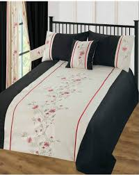 black cream colour stylish fl embroidered design duvet quilt cover set 5770 p jpg