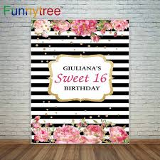 Romantic Birthday Background Black And White Stripes Pink Flowers