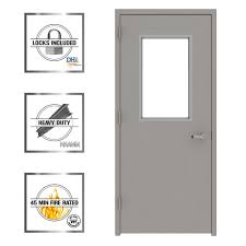gray vision 1 2 lite right hand steel prehung commercial door with welded frame