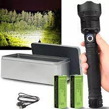 Đèn Pin LED Mạnh 120000 LM, Đèn Pin Phóng To USB Đèn Pin Hợp Kim Nhôm Chống  Nước