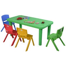 school table and chairs. Exellent School Amazoncom Costzon New Kids Plastic Table And 4 Chairs Set Colorful Play  School Home Fun Furniture Kitchen U0026 Dining Intended And T