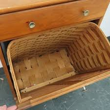 country pine laundry chest with woven basket height 30