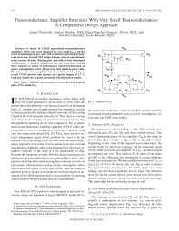 Transconductance Amplifier Design Pdf Transconductance Amplifier Structures With Very Small