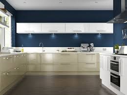 blue painted kitchen cabinets. Dark Blue Painted Kitchen With Cream Cabinets And Modern Design.