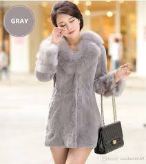 2018 noble and elegant faux fur jacket long women clothing 2018 new autumn winter coat fashion casual was thin imitation rex rabbit fur fur coat from