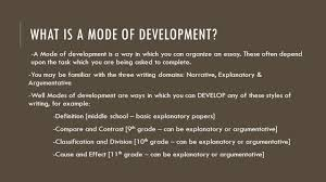 modes of development classification essay lit and comp ppt  what is a mode of development a mode of development is a way in