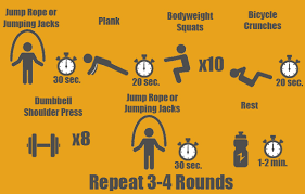 bodyweight squats 10 reps bicycle crunch 20 seconds dumbbell shoulder press 8 reps jump rope or jumping jacks 30 seconds