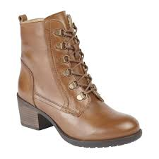 tan denna leather lace up heeled ankle boots lotus