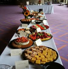 Sophisticated Food Festival Buffet Table With Asian Cuisine As Well As  Purple Areas Carpet In Open Floor Designs
