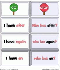 sight word 1st grade i have who has game for first grade dolch sight words a to z