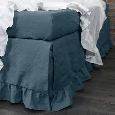 blue bedskirt ruffled washed linen french royal twin bed skirt