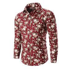 Long Sleeve Designer Shirts Amazon Com Mens Blouses New Long Sleeve Floral Shirt