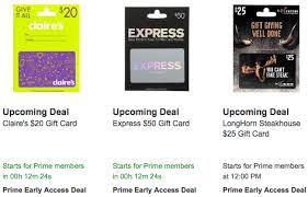 gift card lightning deals starting soon save on claire s express longhorn steakhouse