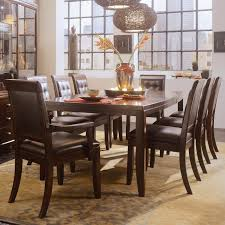 9 piece leg table leather chair set