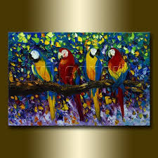 paintings with texture parrot portrait original animal oil painting textured palette knife