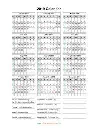 Calendar 2019 Printable With Holidays Blank Calendar 2019