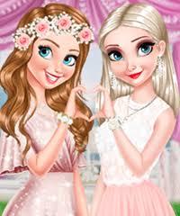 anna and elsa glittery bridemaids