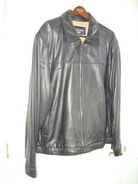 details about dockers black soft lambskin leather men s er style zip jacket coat 2x l