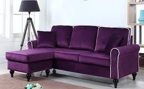 ... Roy Traditional Small Velvet Sectional In Purple