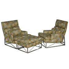 fine pair of michel boyer chrome high back chairs and ottoman for