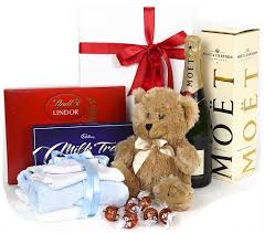 bear chocolate chagne baby gift