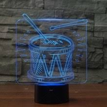addiction al instruments drum set design 3d led night light as novelty drum gifts